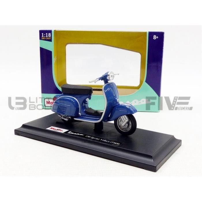 Voiture Miniature de Collection - MAISTO 1/18 - Vespa 150 Sprint Veloce - 1969 - Blue - 4343BL