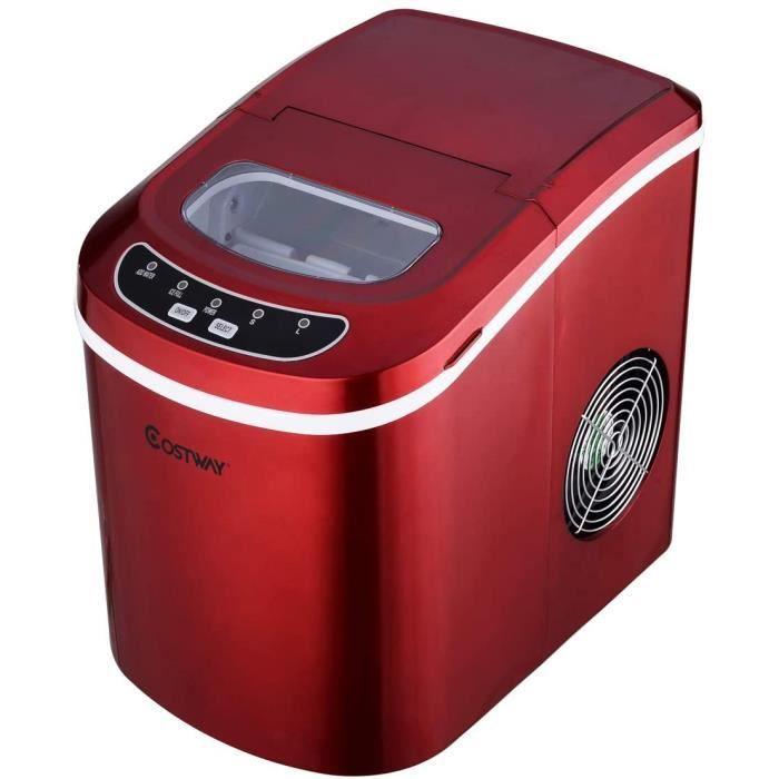 DREAMADE Machine à Glaçons avec Réservoir d'Eau 2,2L Taille de Glaçon en Option, 9 Glaçons en 6-13 Minutes, pour la famille (Rouge)