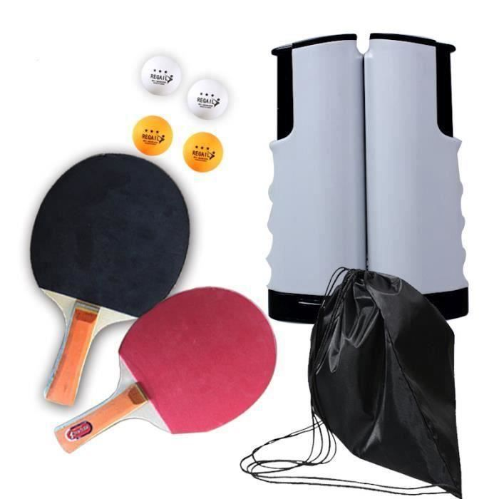 Raquette de Ping Pong Set, Jeu de ping-Pong avec 2 Raquette de Tennis de Table + Rétractable Filet de Table Tennis+4 Balle(En Stock)