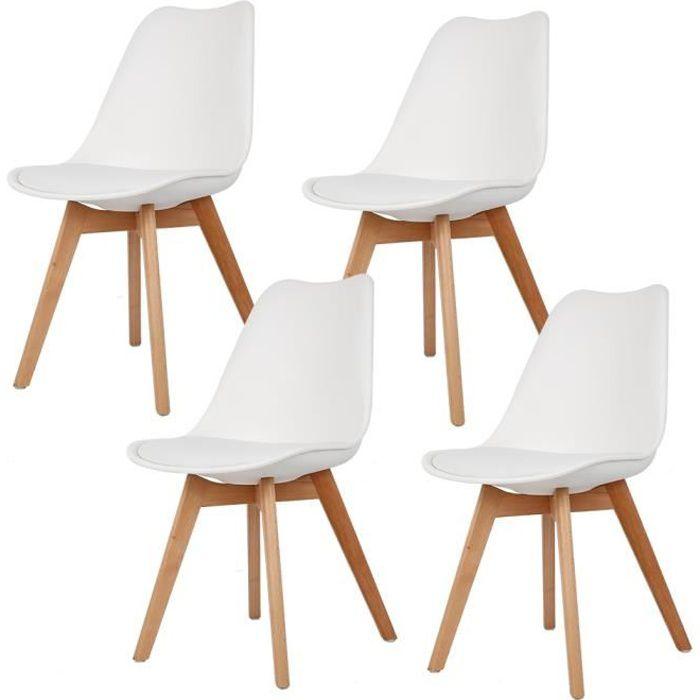 Lot de 4 chaises scandinave blanches avec coussin