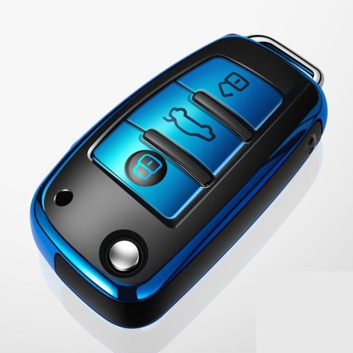 Coque de support pour clé de voiture, étui pour audi a1 a3 a4 a5 a6 a7 a8 quattro q3 q5 q7 r8 allroad Bleu