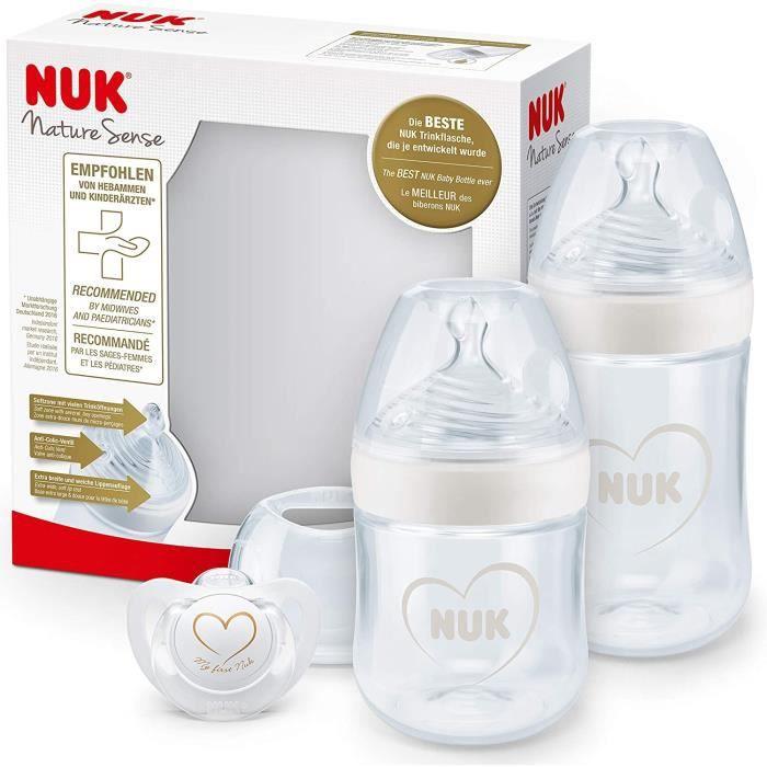 NUK Nature Sense set de biberons - 0-18 mois - 2 biberons anti-coliques et 1 tétine Genius - Sans BPA - blanc (cœur) - 3 unités