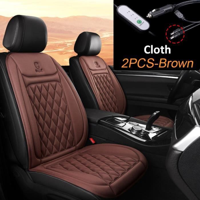 2Pcs Brown -Karcle – coussin chauffant électrique pour siège de voiture, housse chauffante pour siège de voiture en hiver, accessoir