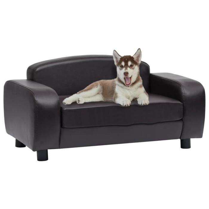 Excellent Qualité :) Canapé pour chien Canapé chien chat sur pied - Panier pour Chien - Marron 80x50x40 cm Similicuir &17412&