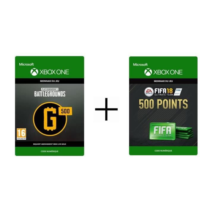 PACK Xbox One - FIFA 18 Ultimate Team: 500 Points + DLC PlayerUnknown's Battlegrounds : 500 G-Coin