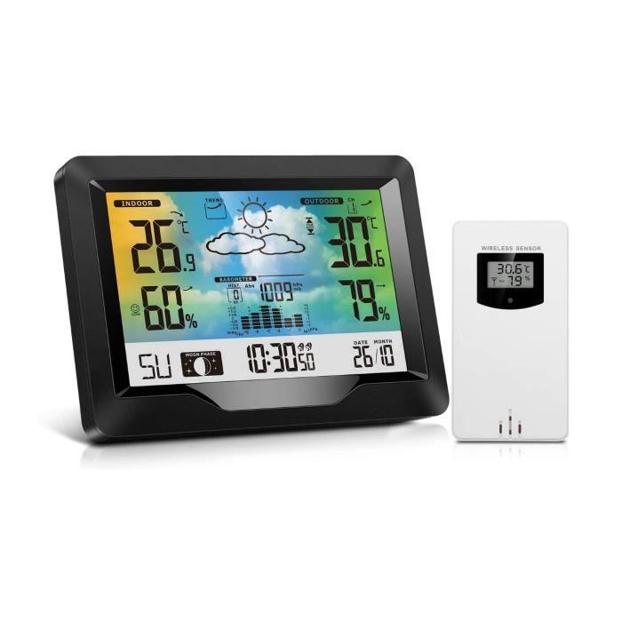 GOBRO Station Météo, Digital Thermomètre Hygromètre Baromètre Station Météo sans Fil Intérieur Extérieur avec Capteur Extérieur, Gra