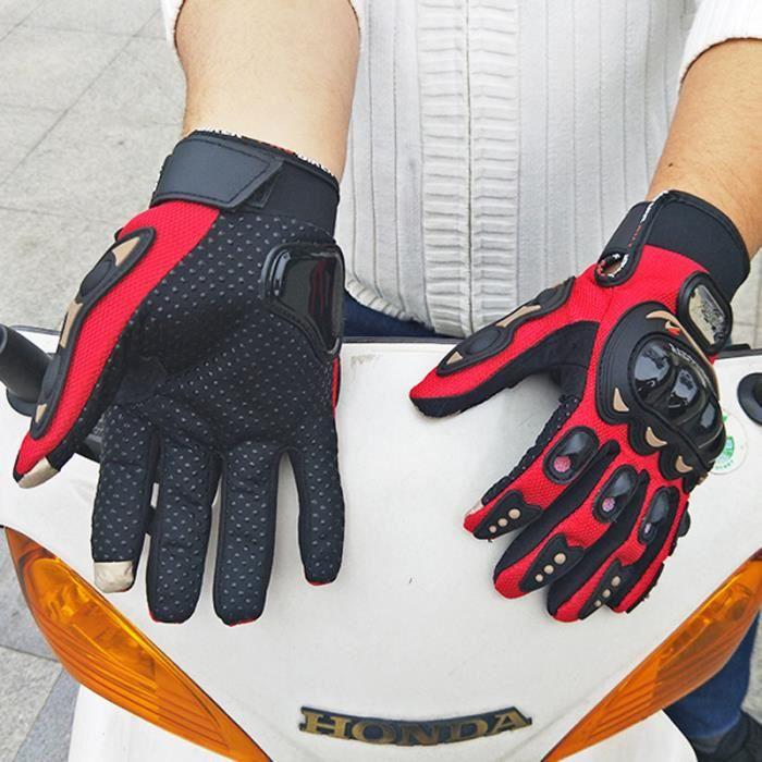 Gants Moto Cross Vélo Doigt Complet Protection Gants Tout-terrain Équipement Sport de Plein Air Rouge