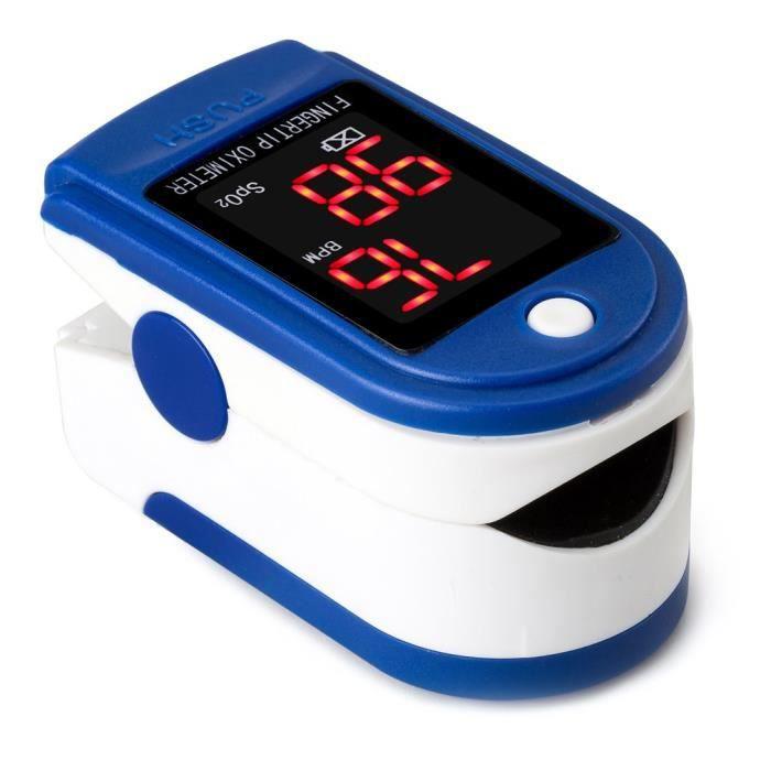 Oxymètre de pouls clip de doigt Faible consommation d'énergie pour surveillance du service/santé à domicile/etc (Bleu)
