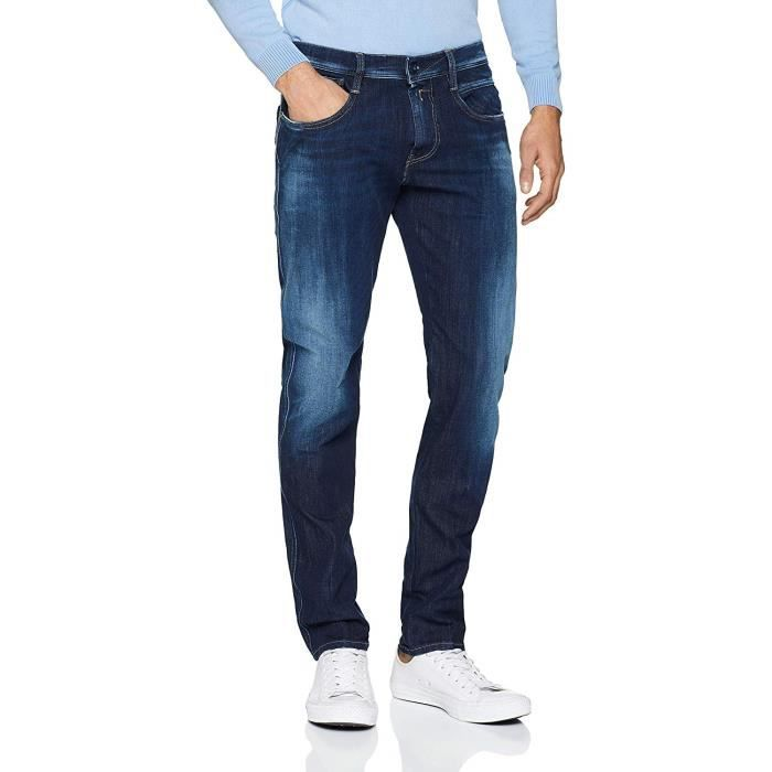 Replay Anbass Jean Slim, Bleu (Dark Blue 7), W40/L36 (Taille Fabricant: 40) Homme - M914 .000.661 S14-7