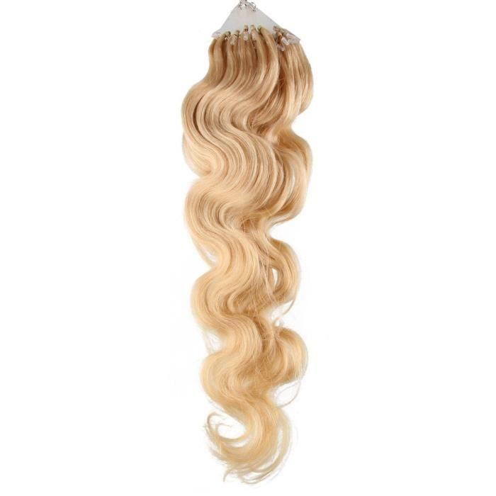 @M6795 50 Extension de Cheveux Naturel Humaine 50 CM VAGUE DU CORPS-Ondule EASY LOOP Anneaux Pose a Froid - Couleur Marron