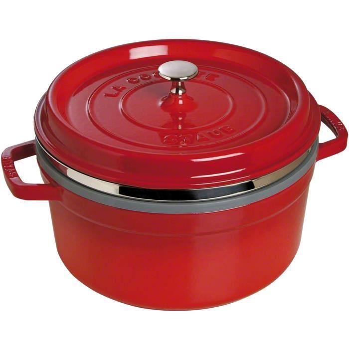 STAUB 405106010 - Cocotte ronde avec panier vapeur - Ø 26 cm - Cerise