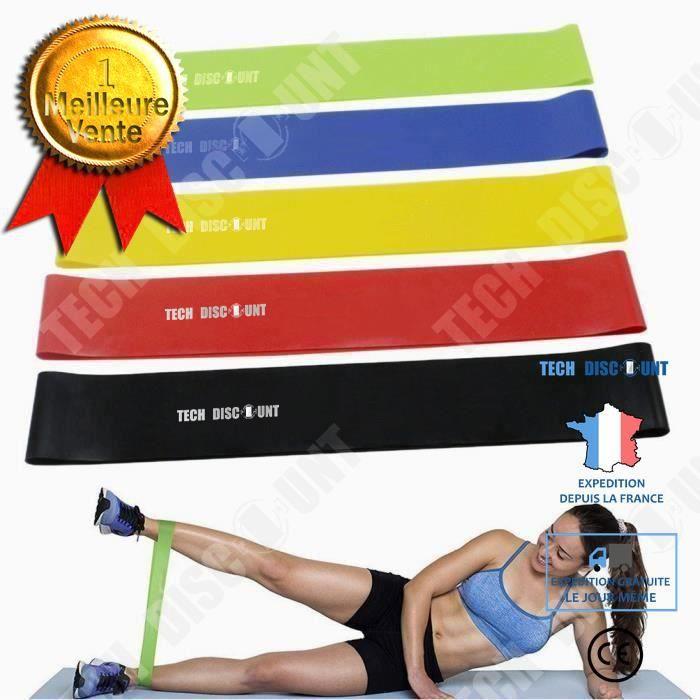 TD® Bande de Résistance Set (5) Musculation/ Bande Élastique Fitness Équipement d'Exercices pour Musculation Pilates Squat Sport