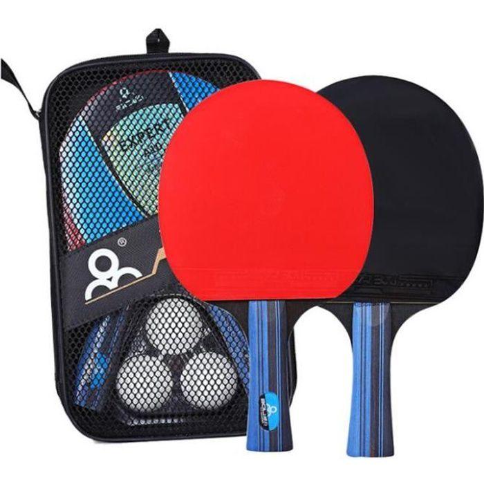 Raquette de Ping Pong Professionnel Set, 2 Raquette de Tennis de Table + 3 Balles de Ping-Pong+ Une Pochette de Rangement pour Ensem