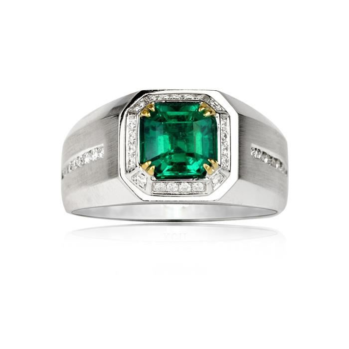 Bague emeraude synthetique