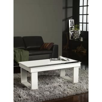 Table basse relevable blanc ou blanc et noyer - Table basse relevable occasion ...