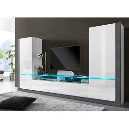 ensemble meuble tv laqu blanc et effet b ton cir design. Black Bedroom Furniture Sets. Home Design Ideas