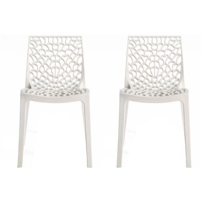 lot de 2 chaises design blanche gruyer achat vente. Black Bedroom Furniture Sets. Home Design Ideas
