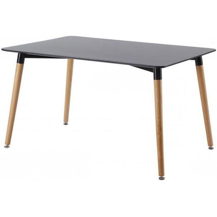 Table A Manger Rectangulaire Scandinave Noire 140cm Brevik