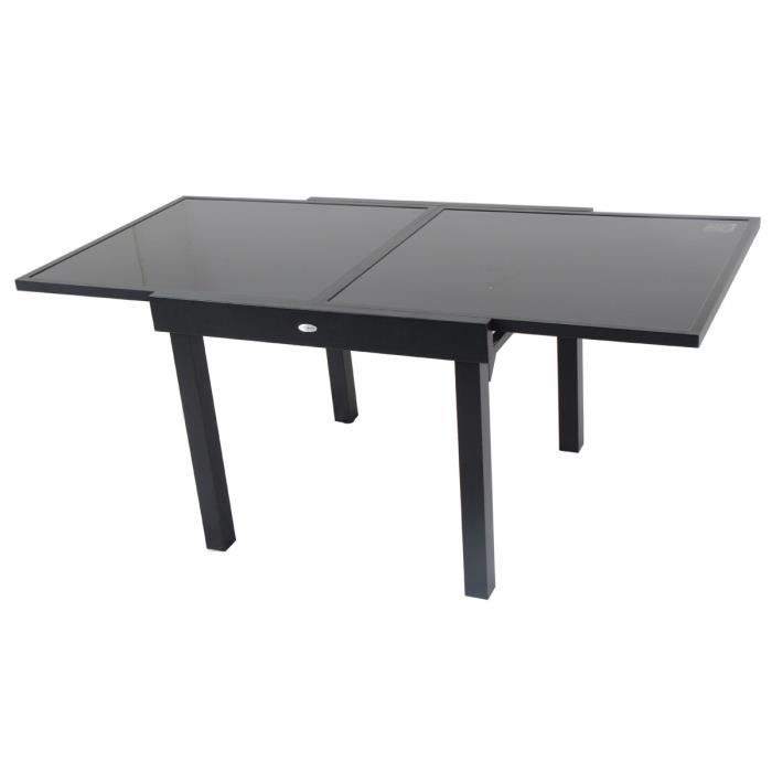 Table rectangulaire piazza 4 8 places extensible noire for Table de cuisine rectangulaire extensible