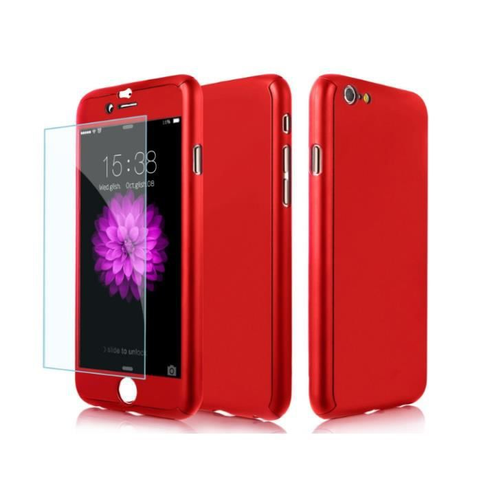 coque int grale iphone 6 plus 6s plus rouge verre tremp achat coque bumper pas cher avis. Black Bedroom Furniture Sets. Home Design Ideas