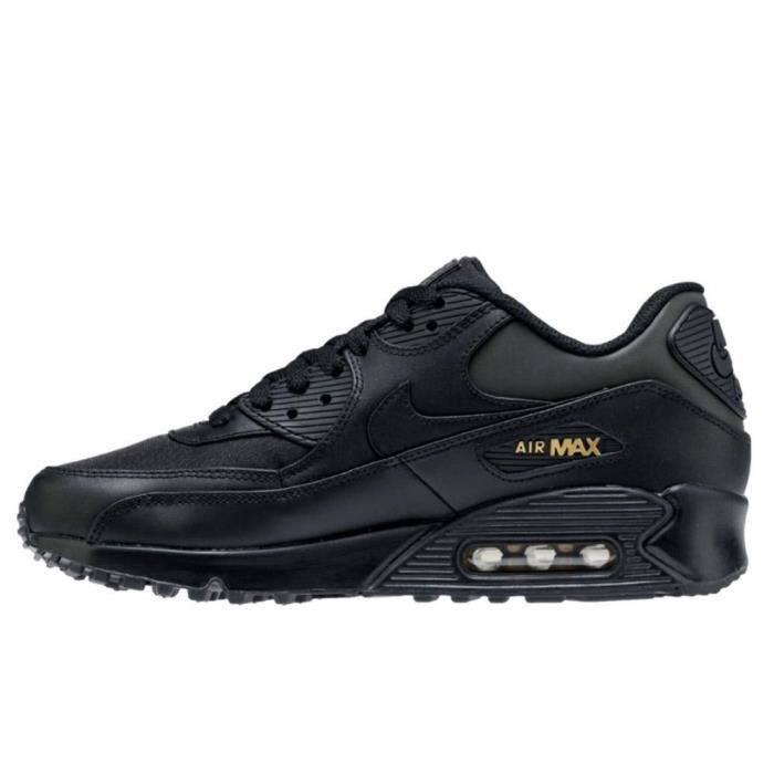 newest d54fc e79fb Basket Nike Air Max 90 Premium 700155 011 Black Metallic Gold