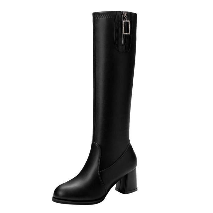 Femmes genou Bottes hautes dames classique carré talon en cuir longues Bottes Chaussures_bub315