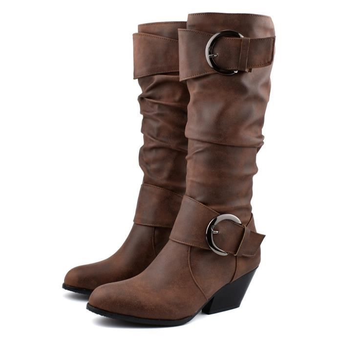 Bout rond lieu Slouch Buckles féminin Talon bottillons Tube Moyen Boot Casual marron