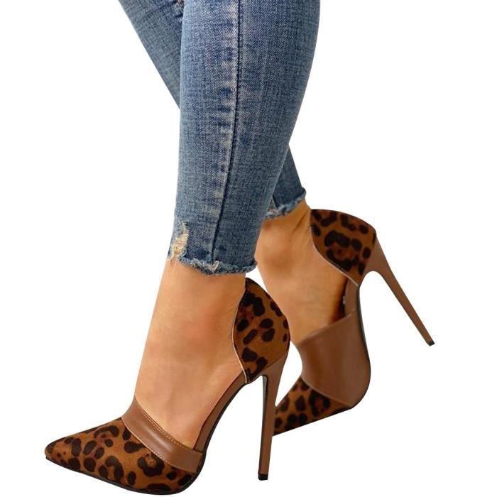 Women's Leopard High Heels Open Toe Shoes Pointed High Stiletto Pump Heel Shoes marron LYH90615414BW37