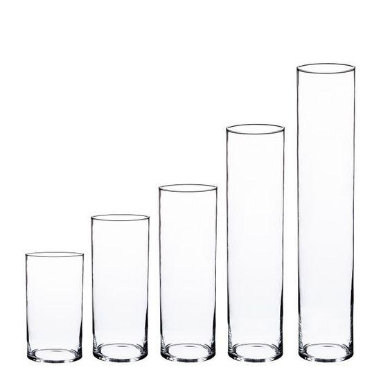INNA Glas /Ø 15 cm Vase cylindre // Porte bougie transparent Photophore // Vase en verre cylindrique SANSA 20 cm transparent