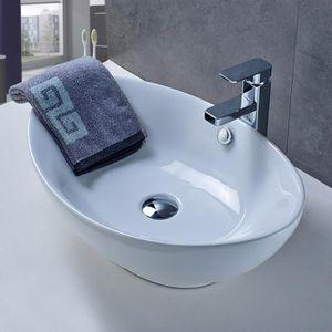 Aruhe® Vasque Ovale à Poser en Céramique Lavabo en Blanc ...