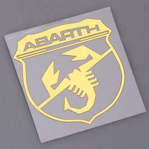 R/ésine Effet 3d Logo Fiat 500/Abarth avant arri/ère fond carbone Sculptures Scorpion Volant Autocollants Pour Capot et coffre 2/blason pour porte-cl/és