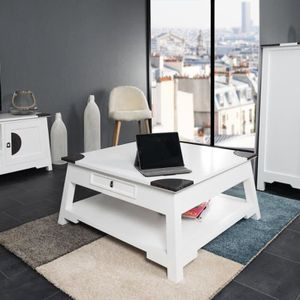 table basse table basse de salon en acajou thao blanc 85 - Salon Exotique Pas Cher