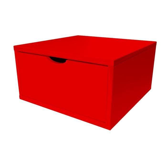 Cube de rangement largeur 50 cm + tiroir - Couleur - Rouge