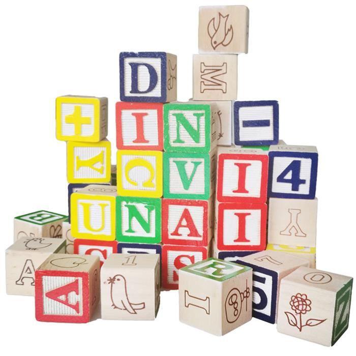 50pcs Blocs de Bois ABC Blocs Jeux de Construction Alphabet Letters Block Jouets Éducatifs Montessori pour Enfants