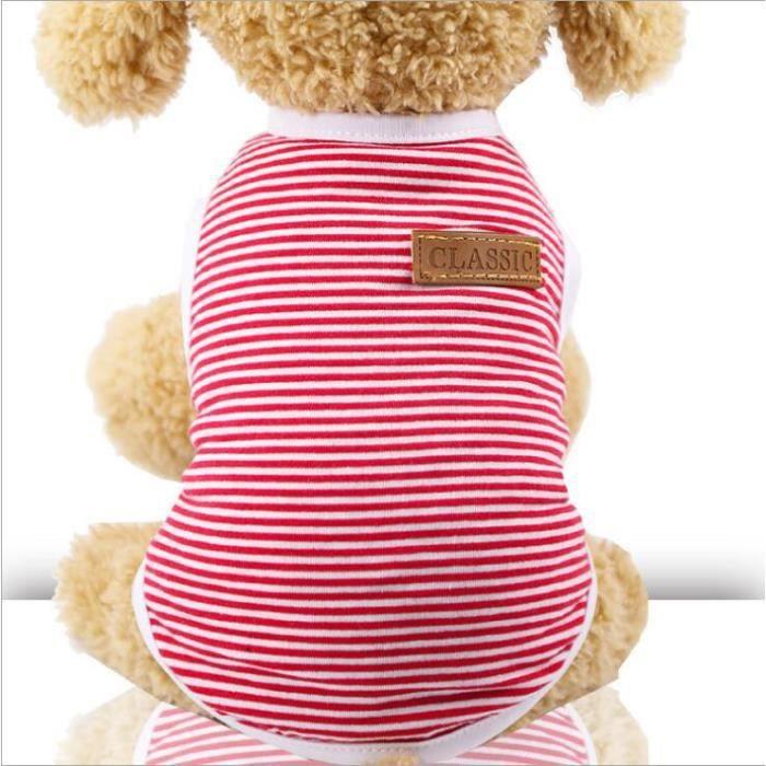Rouge-M -Vêtements d'été pour chats - En coton, gilet rayé pour animaux de compagnie chats t shirt pour chat, chemise vêtements p