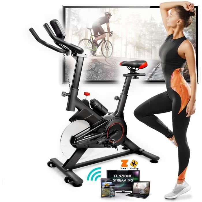 Vélo de spinning à domicile (Bike Fit), écran LCD multifonction, application Bluetooth + ZWIFT et KINOMAP, résistance réglable, capt