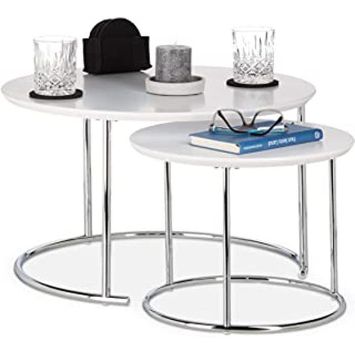 Table Gigogne Set De 2 Table De Salon Petite Ronde Mate, Table Basse Bois Métal Chromé 60X60 Cm, Blanc