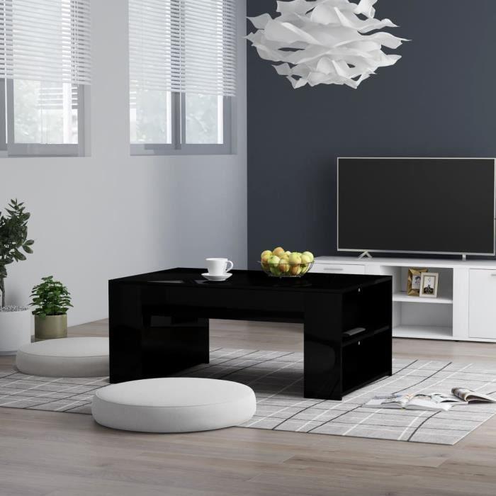 MPO Table basse style Scandinave - Table de salon Table Café Noir brillant 100x60x42 cm Aggloméré @652772