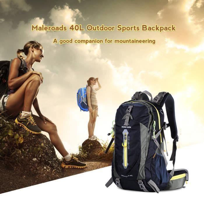 40L Sac à dos de Randonnée Alpinisme Sac Ordinateur de Voyage Sport Trekking Camping Escalade Activité Quotidien Nylon - Noir