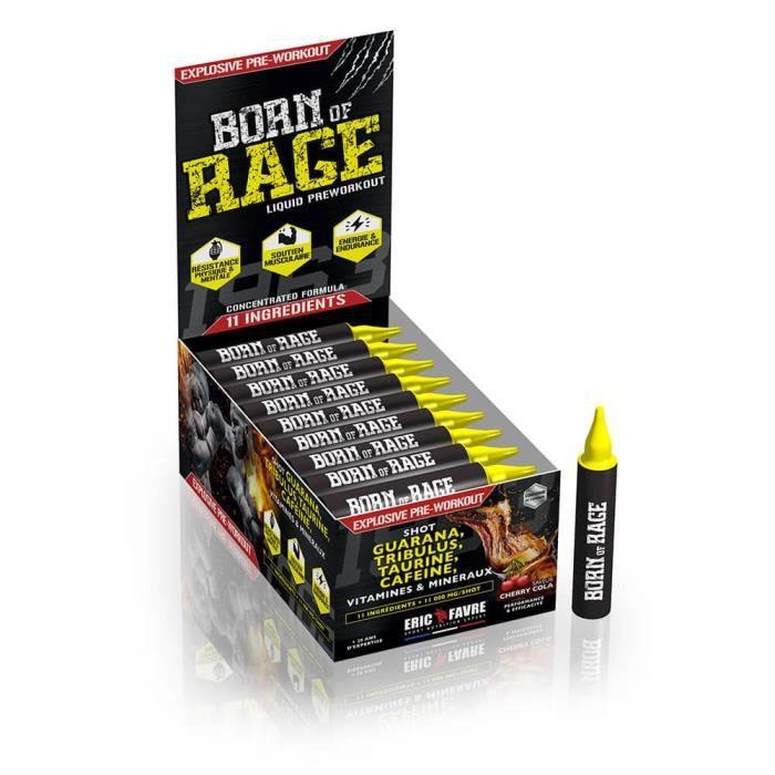 Eric Favre - Born of rage shot - Complexe PreWorkout - Boosters & Pre Work Out - Cherry Cola - Display de 40 unités