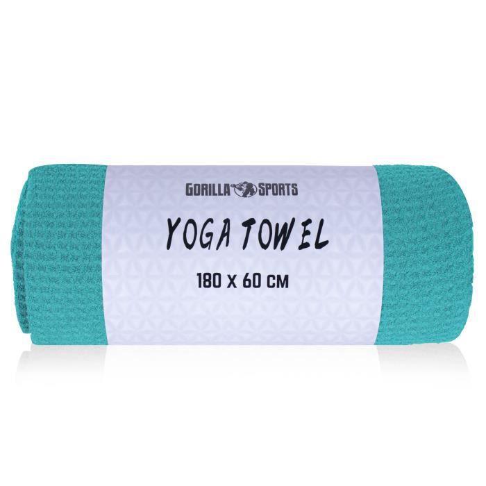 Serviette de yoga bleue turquoise - 180 x 60 cm