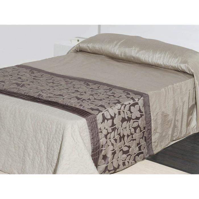Couvre-lit floral pour lit brun taffetas(240x260)