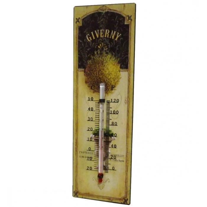 Thermomètre Mural Décoratif en Celsius et Farenheit ou à Poser Motif -Floral Ancien- en Fer et Papier Vernis 0,5x8x25cm Multicolore