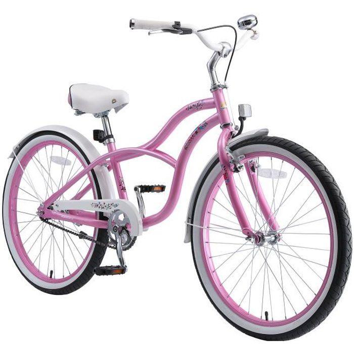 BIKESTAR - Vélo pour enfants - 24 pouces - pour garçons et filles de 10-13 ans - Edition Cruiser - Rose