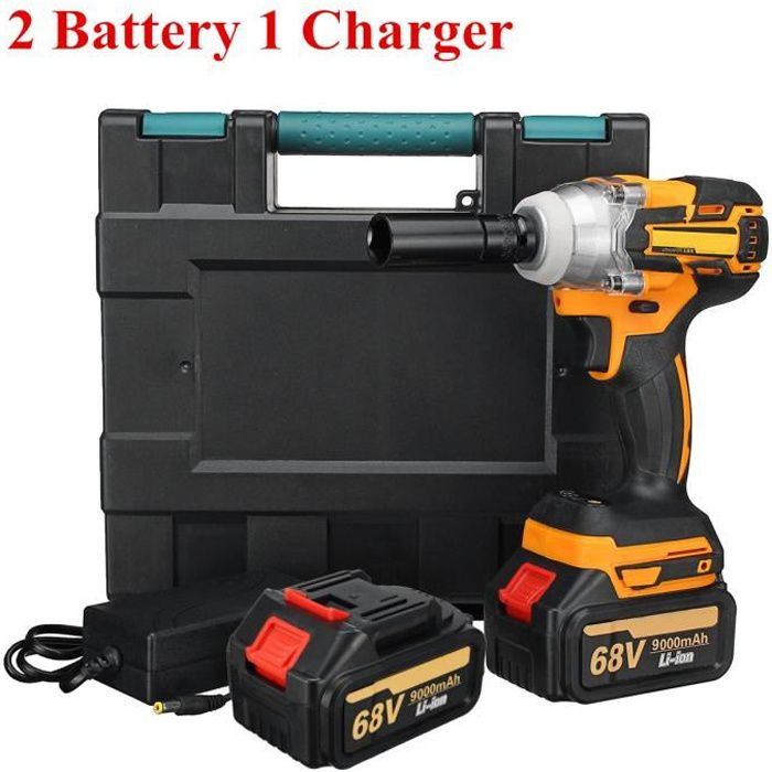 68V Sans Fil Clé à Choc Électrique 520Nm Boulonneuse + 9000mAh Batterie 2 batteries 1 chargeur