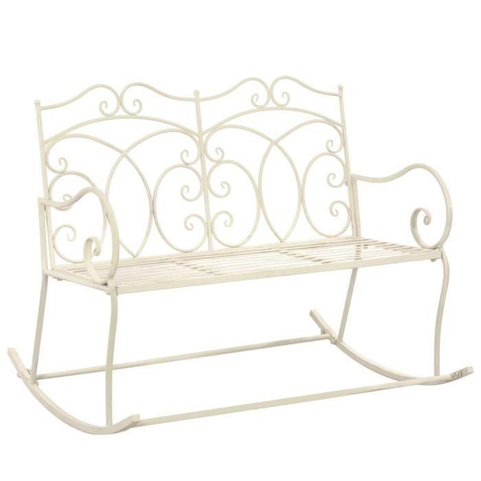 8800JILL® Banc de jardin Retro Design Banquette de Jardin Banc d'extérieur 104 cm Fer Blanc antique Size:104 x 83 x 89 cm