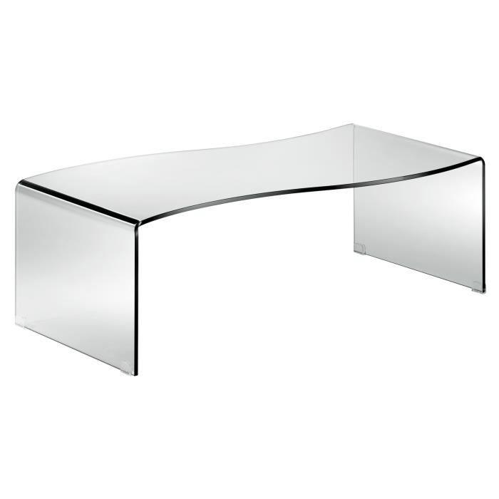 Table basse en verre trempé, 120x60x38cm