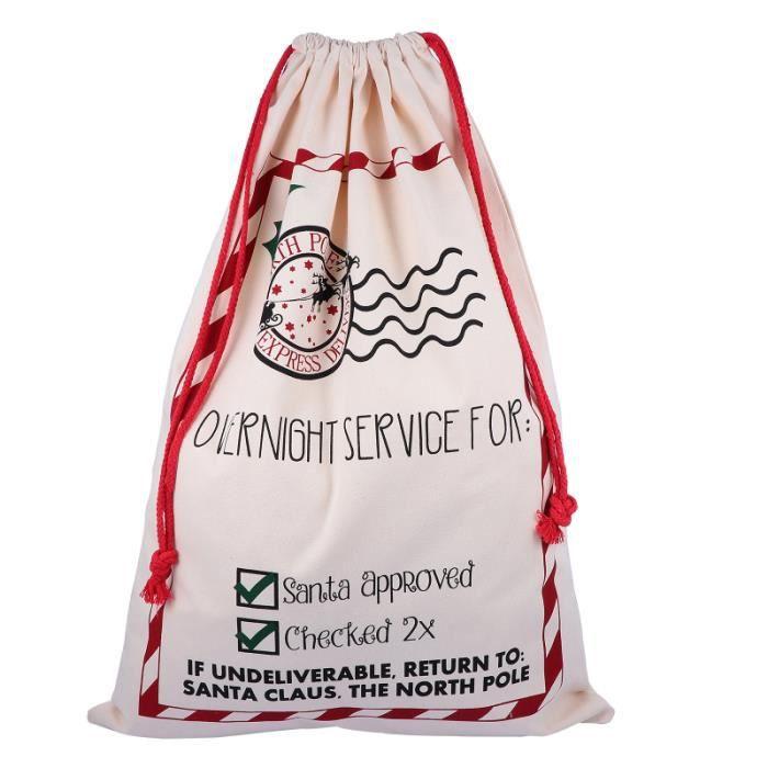1 Pc Noël fabriqué cadeau sac cordon Festival grande capacité lin fête faveur de rangement COFFRET CADEAU EPICERIE - EPICERIE