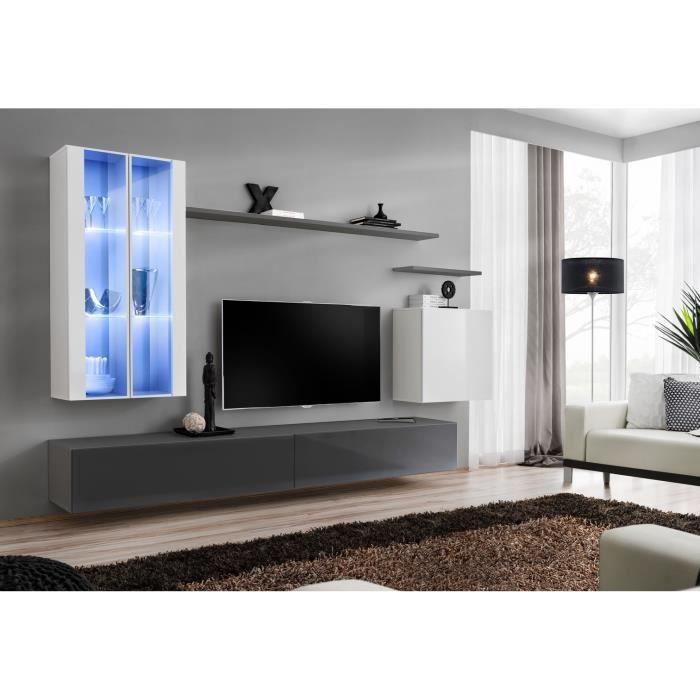 Ensemble meuble salon mural SWITCH XII design, coloris gris et blanc brillant. 40 Gris