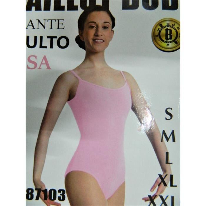 Justaucorps de danse rose femme danseuse bretelles taille XXL